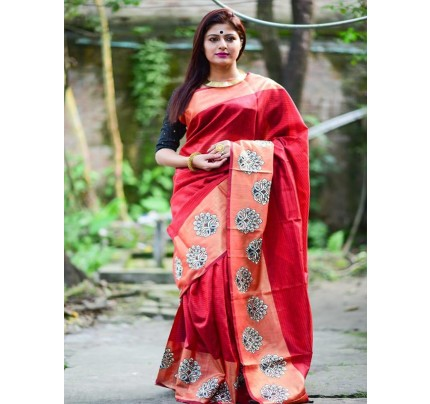 Designer Look Raw Silk weaving saree with embroidery butta(5 peice set)
