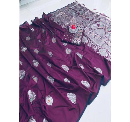 Elegance Look Purple Banarasi Silk weaving jacquard Saree with reach pallu