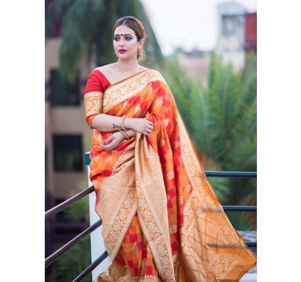 Orange Colour Banarasi Silk Weaving Saree with Fabulous Checks Weaes All over Contrast Border and Exclusive Pallu