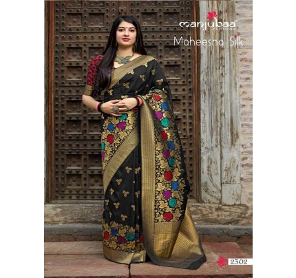 Stunning Look Black Colour Soft Banarasi silk Pure Paithani Silk saree