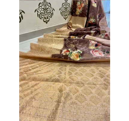 Elegance Look Brown Colour Banasari Handloom Weaving Silk Saree