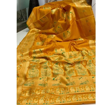 Stunning Look Golden Colour Soft Banarasi Silk Zari Rich Saree