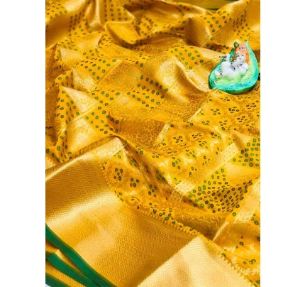 Attractive Look Yellow Colour  Banarasi Patola Silk Saree With  Meenakari Border And Pallu