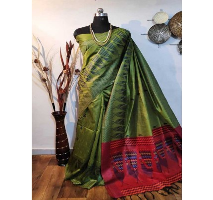 Beautiful Multi Handloom Raw Silk Weaving Saree With All Over Resham Weaving