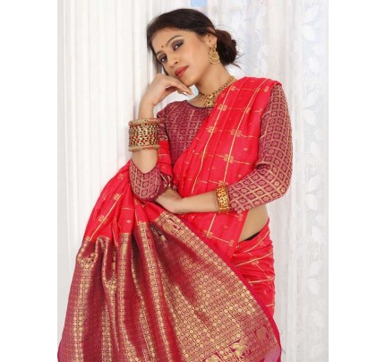 New Trending Pink Colour Soft Weaving Cotton With Jequard Border Saree