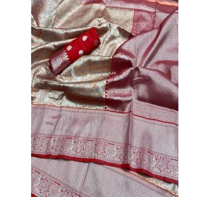 Wedding Designe Multi  Color Soft Silk Saree With Silver Zari Design