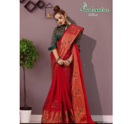 Festival Look Red color  Pure Cotton Flax Linen Saree