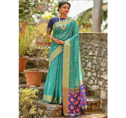 Wedding wear Cyan color Soft Cotton Silk weaving Saree