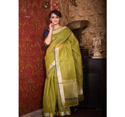 Stunning Green Color Linen Silk Saree With Silver Zari Checks