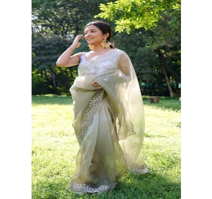 Premium Organza Silk Saree with Fully Handwork sequence work Saree