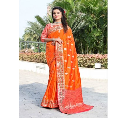 Modern Look Orange Color Banarsi Silk Weaving Saree with Gold Zari work