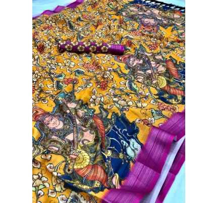 Festival Style Multi Color Soft Linen Digital Printed Saree