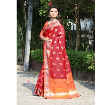 Modern Look Red Color Banarsi Silk Weaving Saree with Gold Zari work
