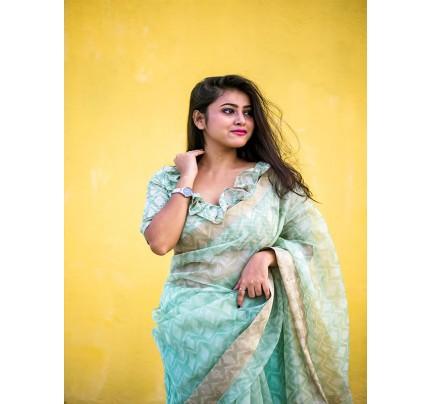 Attractive Look Orgenza Silk Digital Printed Saree with Zari Lining Pallu