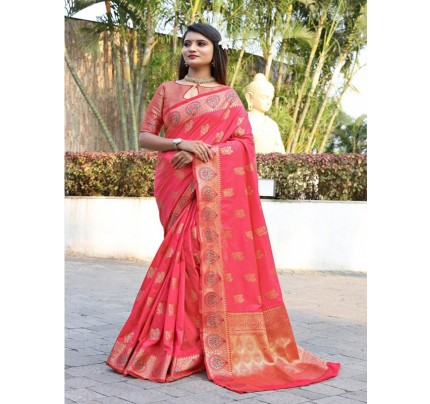 Modern Look Pink Color Banarsi Silk Weaving Saree with Gold Zari work