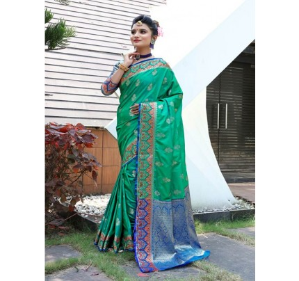 Modern Look Green Color Banarsi Silk Weaving Saree with Gold Zari work