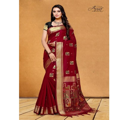 Stunning Look Red Color Pure Cotton Silk Saree