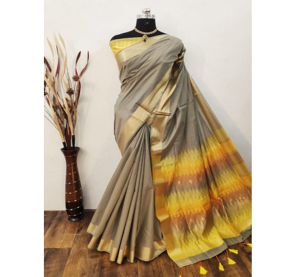 Ikkat Style Chanderi Cotton Saree With Different Designs Pallu