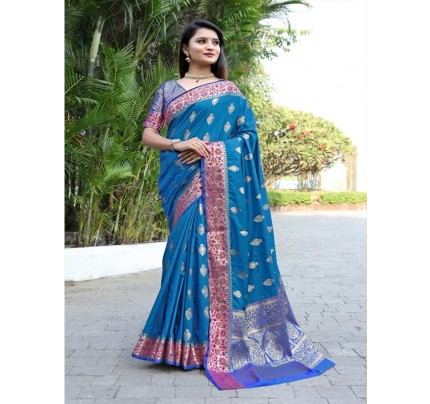 Modern Look Blue Color Banarsi Silk Weaving Saree with Gold Zari work