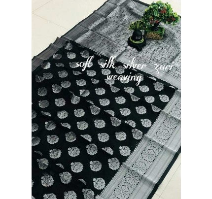 Latest Wedding Look Black Color Soft Silk Silver zari weaving Saree with Rich Pallu