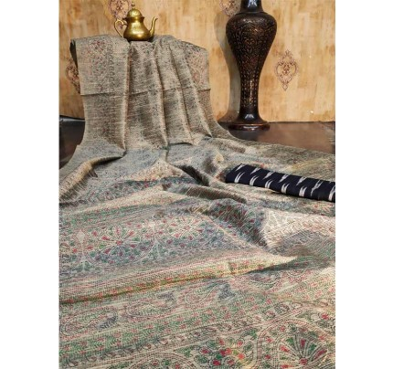 New Eye Catcher Grey Color Raw Silk with Soft cotton Ikkat Printed Saree