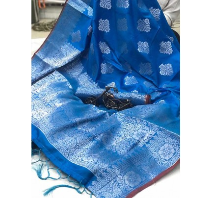 Latest Traditional Look SkyBlue Color Soft Silk Weaving Saree