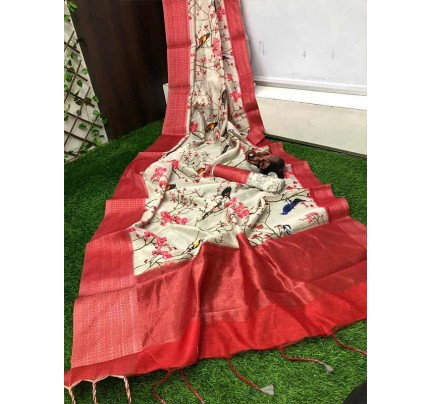 Eye-Catching Look Multi color Linen Saree With Digital Printed With Rich Zari Wooven Pallu