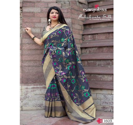 Latest Traditional Look Grey Color Pure Jamdani Silk with Minakari Weaving Saree
