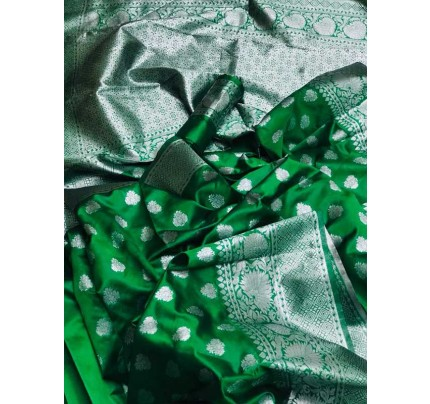 Stunning Look Green Colour Soft Banarasi Silk Zari Rich Saree