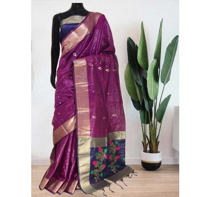 Beautiful Purple Soft Handloom Cotton Weaving Saree With Meenakari Butti And Contrast  Woven Pallu Saree