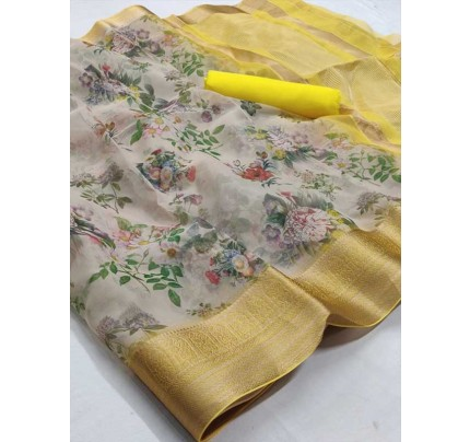 Multi Color Soft Organza Silk Weaving Saree