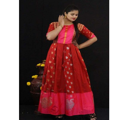 Summer Special Red color Soft Silk Kanchipuram Style Kurti