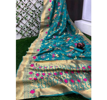 Stunning Look SkyBlue Colour Pure Banarasi Soft Silk Saree With RICH Zari Pallu