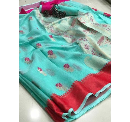 Wedding Look SkyBlue Color Soft Linen Silk Saree