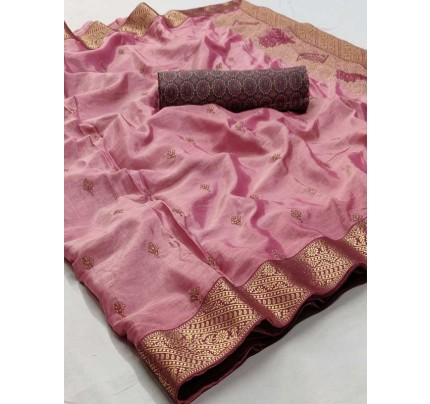 Beautiful Look Pink Color Pure Linen Saree