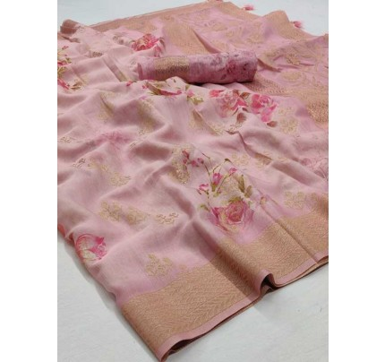 New Eye Catcher Pink  Color Soft Silk Digital Printed Saree