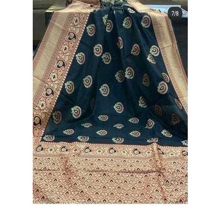 Special Edition Black Color Banarasi Silk Minakari Weaving Work Saree