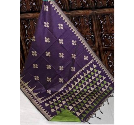 Beautiful Purple Handloom Raw Silk Weaving Saree With All Over Resham Weaving