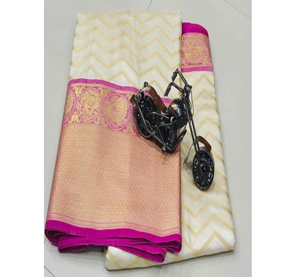 White Colour Kanchipuram style Banaras weaving Silk Saree with Golden zari Border