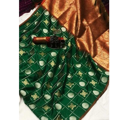 Stylish Look Green Colour Soft Silk with silver & gold zari weaving work saree