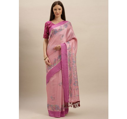 Traditional Look Pink Colour Jute Silk Printed Ikat Saree