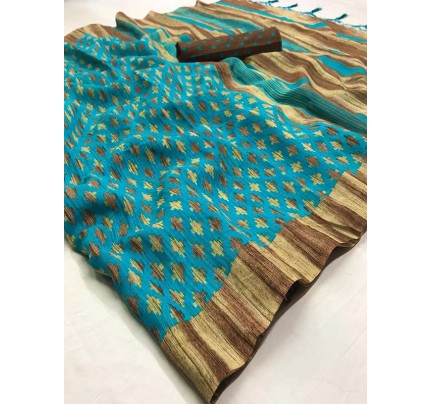 Stunning SkyBlue Color Soft Cotton Fabric Printed Saree