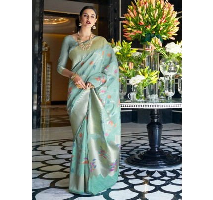 Beautiful Look Cyan Color Pure Linen Saree