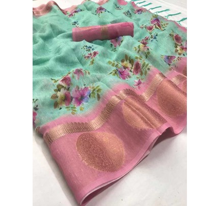 Beautiful Look Multi Color Linen With Digital And Unique Jacquard Border Saree
