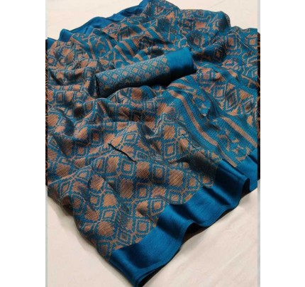 Cyan Colored Beautiful Soft Brasso Silk Fancy Saree