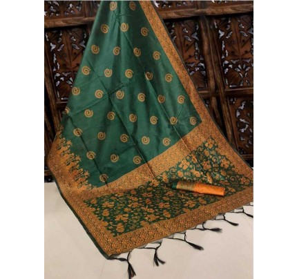 New Eye Catcher Green Color Handloom Raw Silk Saree With  Weaves Saree