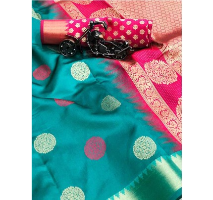 Graceful combination for Wedding Look Cyan Color Lichi Silk weaving jacquard Saree