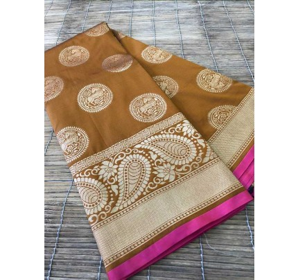Wedding Look Golden  Color Banarsi Silk with Silver zari Saree