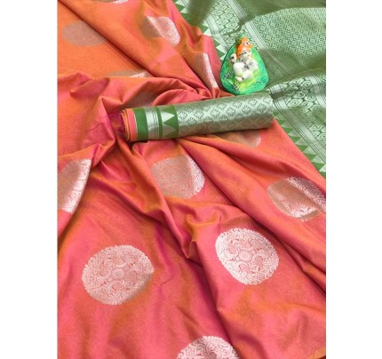 Beautiful Look Peach Color Lichi Silk weaving Jacquard Saree
