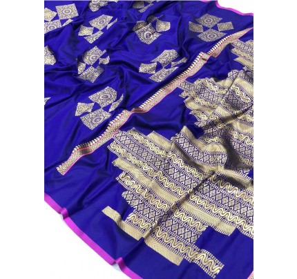 Wedding Look Blue Color Banarsi Silk with Silver zari Saree
